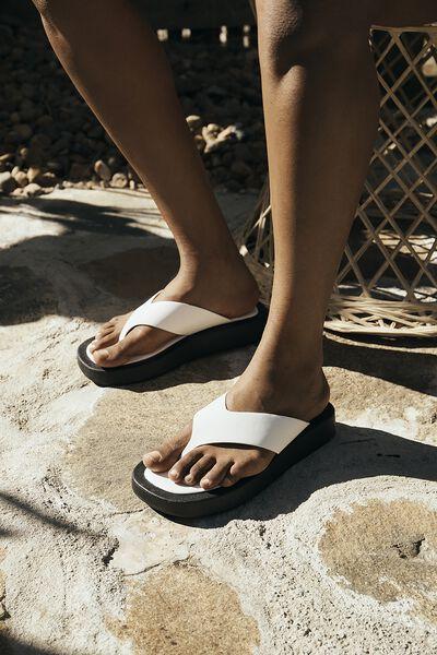 Sadie Flip Flop Flatform, WHITE SMOOTH PU