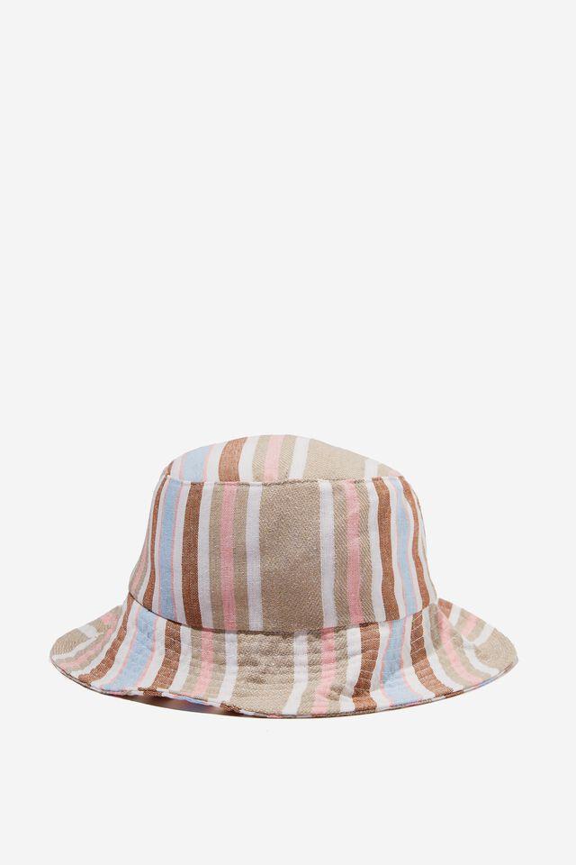 Bianca Bucket Hat, GREEN/BROWN STRIPE