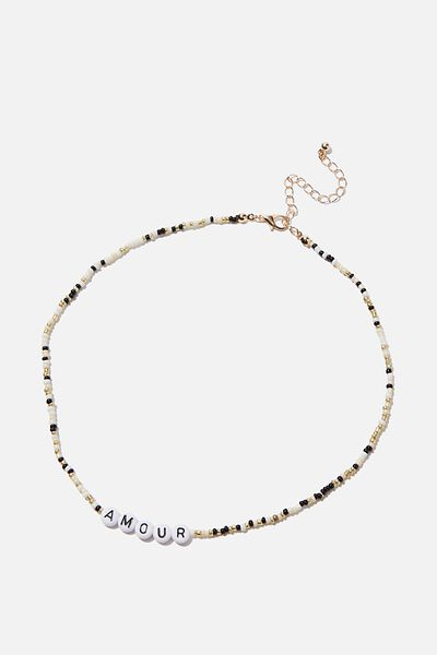 Love Letters Beaded Necklace, WHITE/MULTI