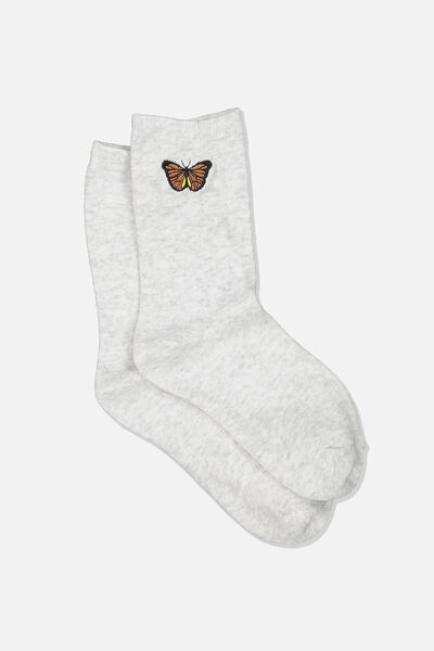Embroidered Crew Sock, GREY MARLE/BUTTERFLY