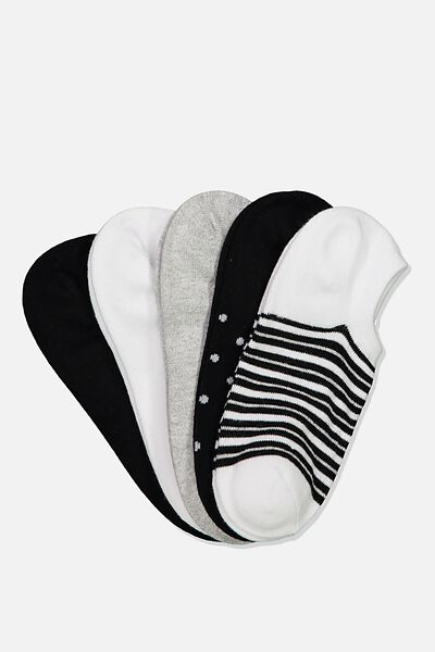 5Pk Sports Low Cut Sock, BLACK WHITE GREY STRIPE