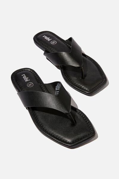 Everyday Molly Toe Post Sandal, BLACK SMOOTH PU/BLACK