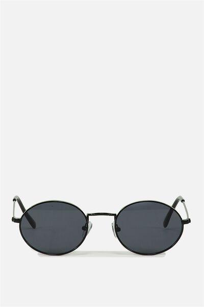 Paigey Oval Metal Sunglasses, BLACK/BLACK