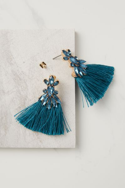 Dressy Triple Tassel Earring, JUNE BUG