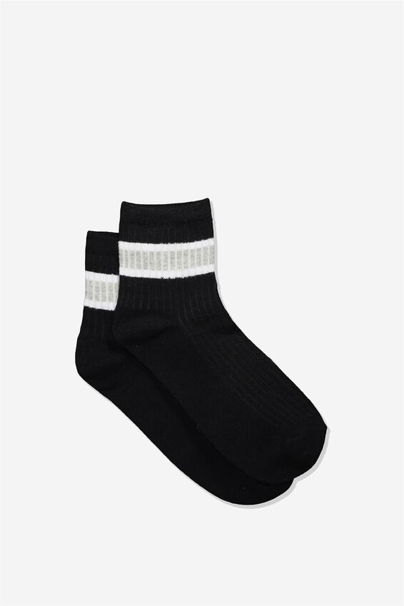 Quarter Crew Sock, BLACK WHITE/ GREY MARLE TWIST