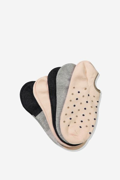 5Pk Sports Low Cut Sock, SOFT PINK CASEY MINI SPOT