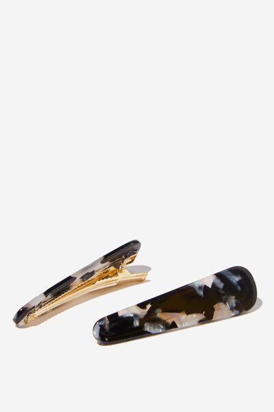 2Pk Hair Slides, BLK/GREY MARBLE