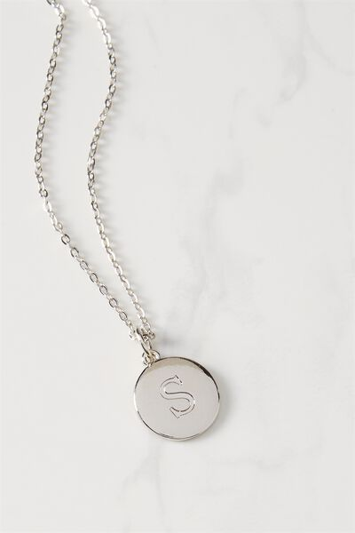 Letter Flat Pendant Necklace, SILVER - S