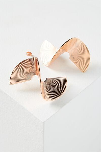 3D Spiral Earring, ROSE GOLD