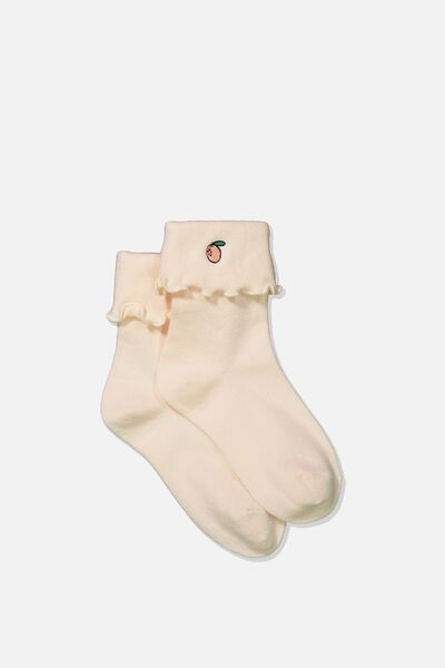 Embroidered Flirty Frill Sock, CRYSTAL PINK/PEACHY