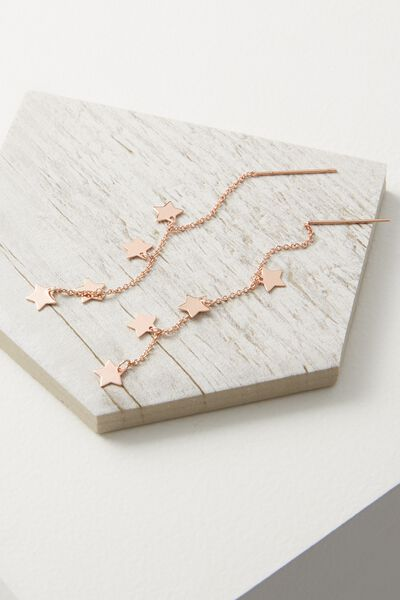 Adara Star Chain Earring, ROSE GOLD