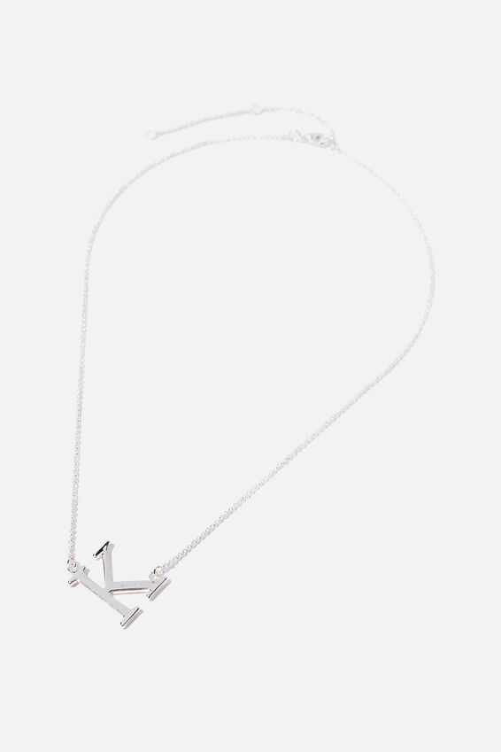 Tilted Letter Necklace, SILVER K