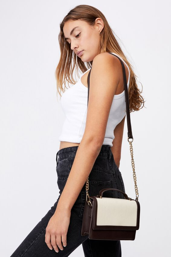 Aria Chain Strap Cross Body Bag, CHOC CANVAS