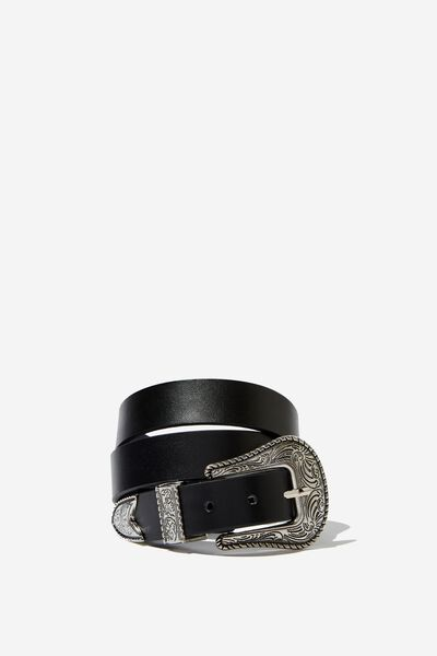 Western Buckle Belt, BLACK