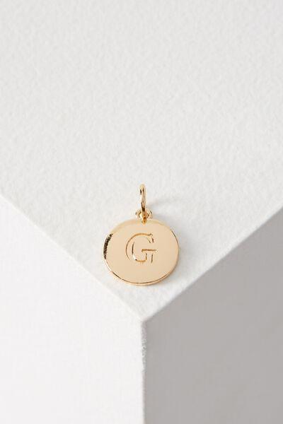 Letter Flat Pendant Charm, GOLD - G