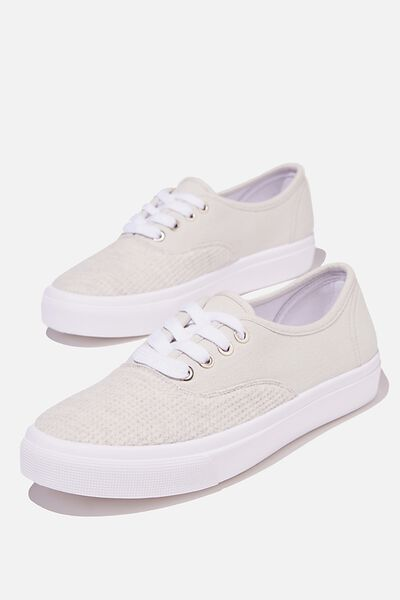 Jamie Lace Up Plimsoll, GREY WAFFLE