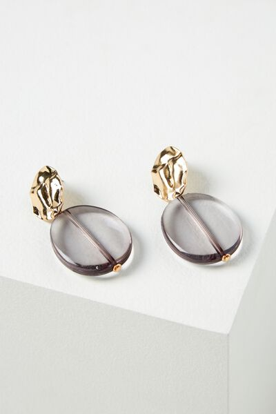 Capri Earring, GOLD/TINTED BLACK