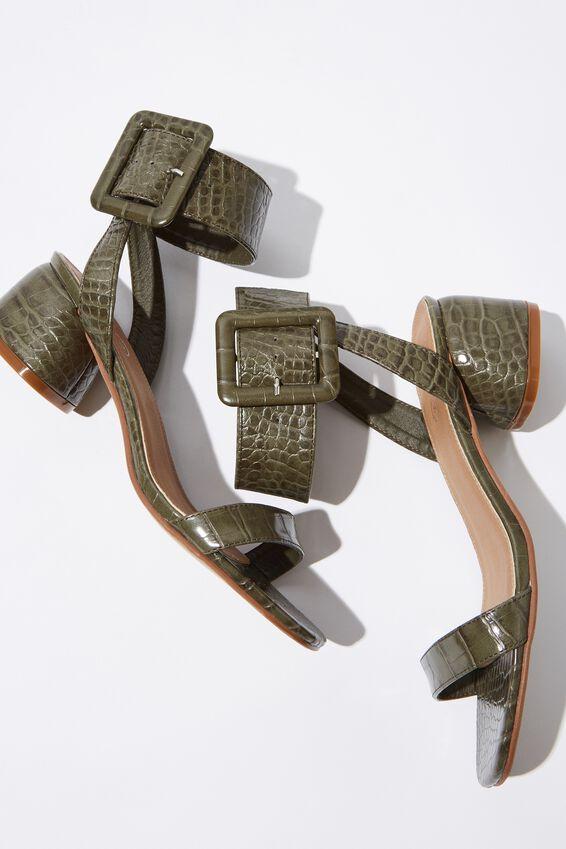 Belle Buckle Sandal, GREEN EMBOSS