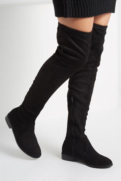 Bridget Flat Over The Knee Boot, BLACK MICRO