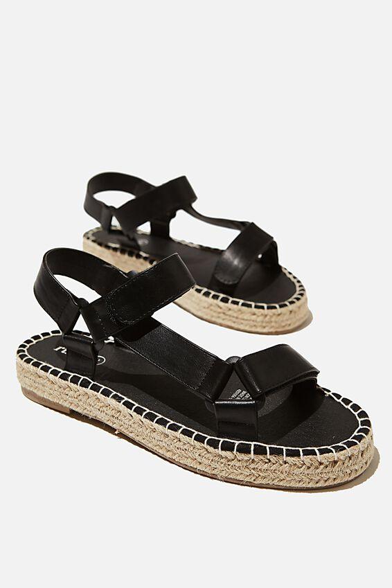 Sienna Sporty Espadrille Sandal, BLACK SMOOTH PU