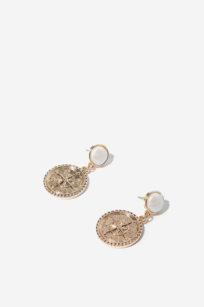 Summer P&T Earring, PEARL/GOLD