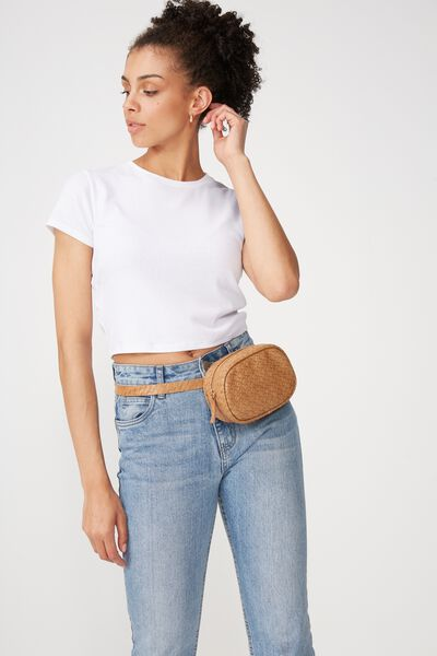 Brodie Belt Bag, TAN WOVEN