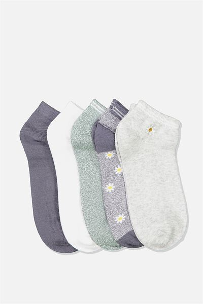 5Pk Ankle Sock, GRISAILLE DAISY