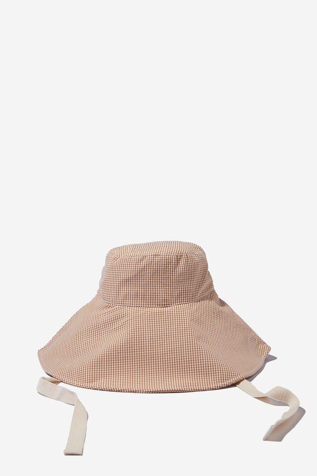 Alice Wide Brim Sun Hat, CAMEL MICRO GINGHAM