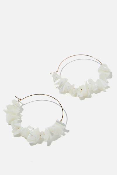 Bondi Shell Chips Hoop Earrings, GOLD