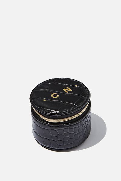 Personalised Mini Jewellery Box, BLACK CROC