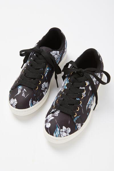 Cathryn Sneaker, BLACK HANDMADE FLORAL