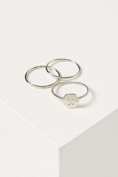 Letter Pendant Ring, SILVER - X