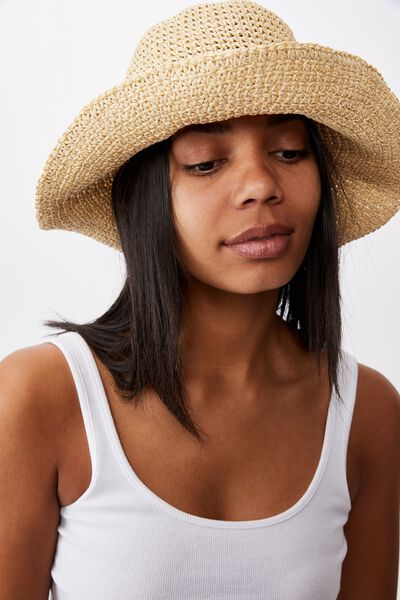 Kimberley Crochet Bucket Hat, NATURAL