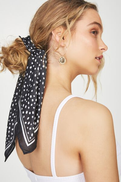 Soho Satin Scarf, BLACK ANIMAL SPOT