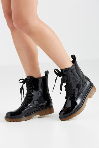 Hyde Lace Up Moto Boot, BLACK SMOOTH