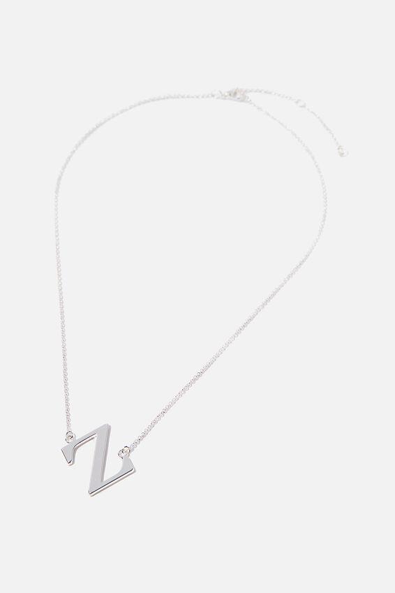Tilted Letter Necklace, SILVER Z