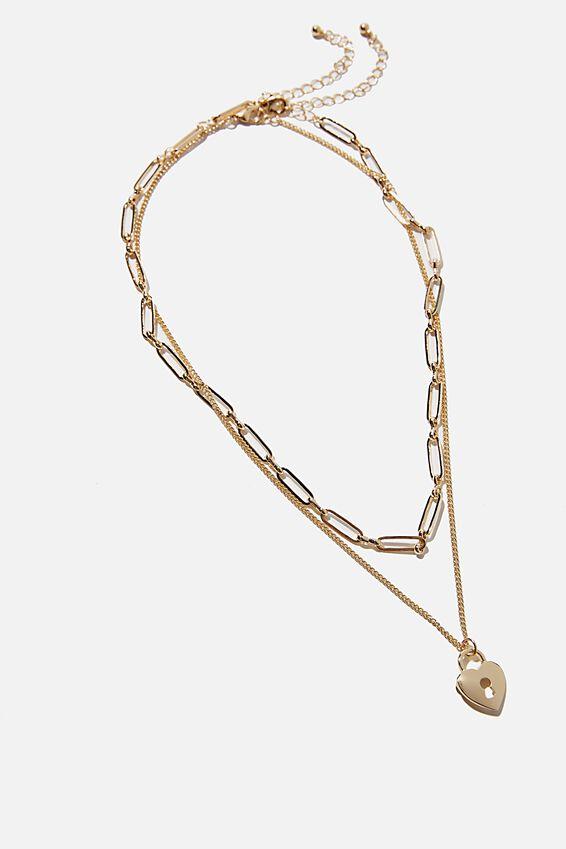 Keepsake 2 Pack Necklace Set, GOLD HEART PADLOCK