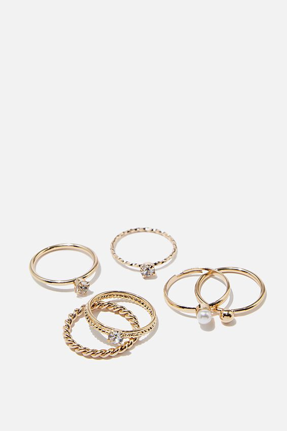 Luxe Layers Twisted Pearl Ring Set, GOLD