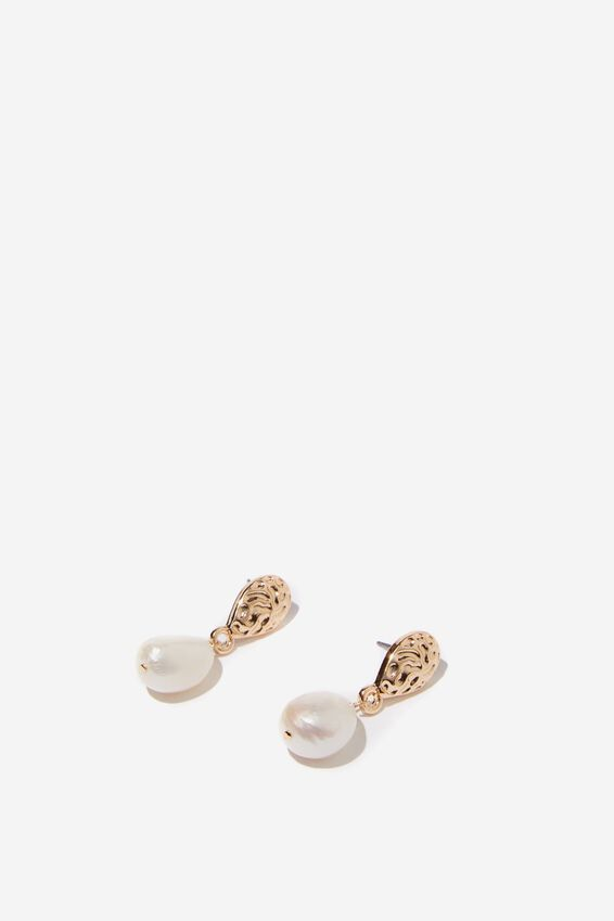 Clementine P&T Earring, GOLD/PEARL