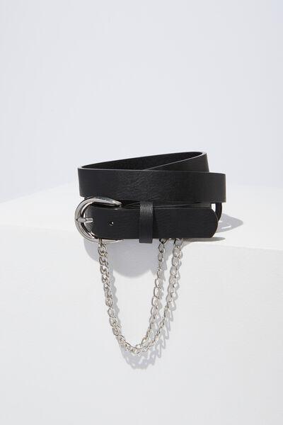 Chain Detail Belt, BLACK W SILVER