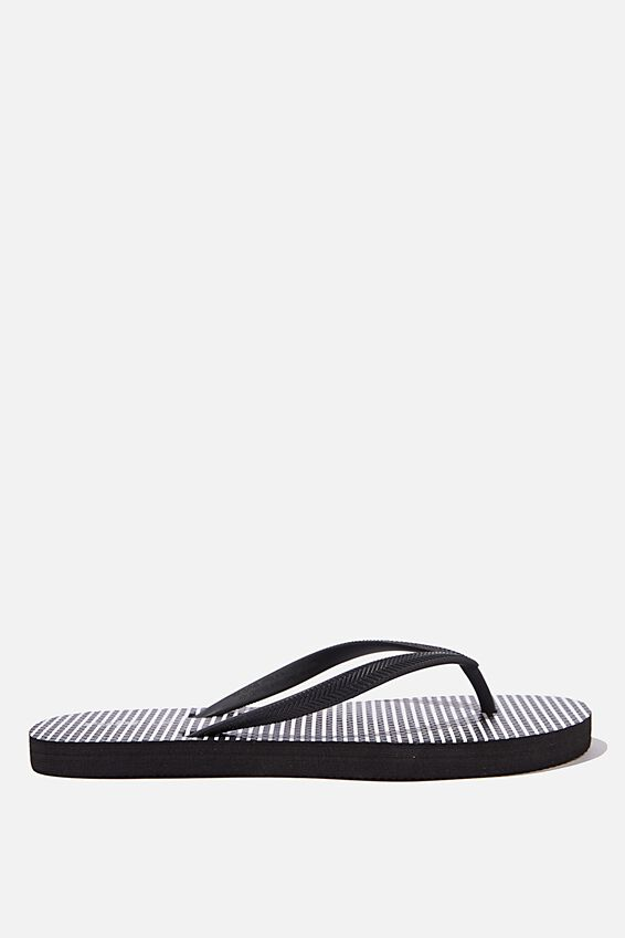 The Rubi Flip Flop, BLACK WHITE PINSTRIPE