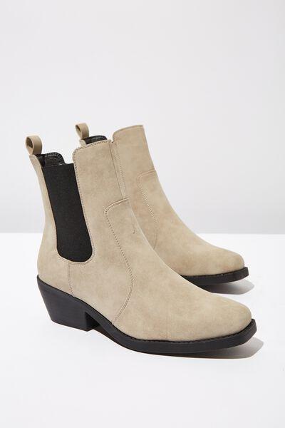 Tessa Square Toe Western Boot, TAUPE NUBUCK PU