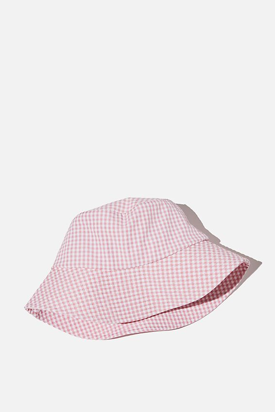 Bianca Bucket Hat, FAIRY FLOSS GINGHAM SEERSUCKER