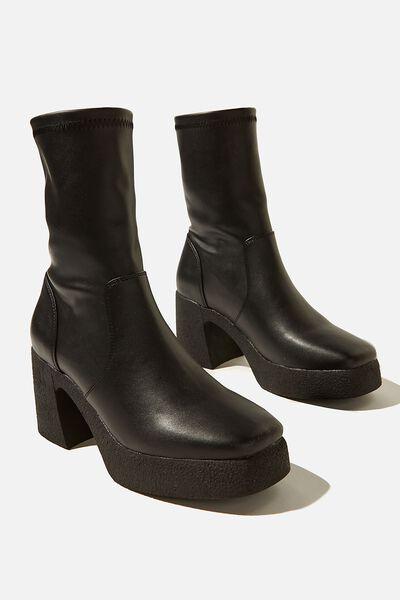 Zoe Platform Sock Boot, BLACK SMOOTH