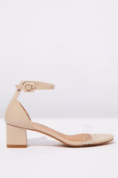 Lola Low Block Heel, NUDE PERSPEX