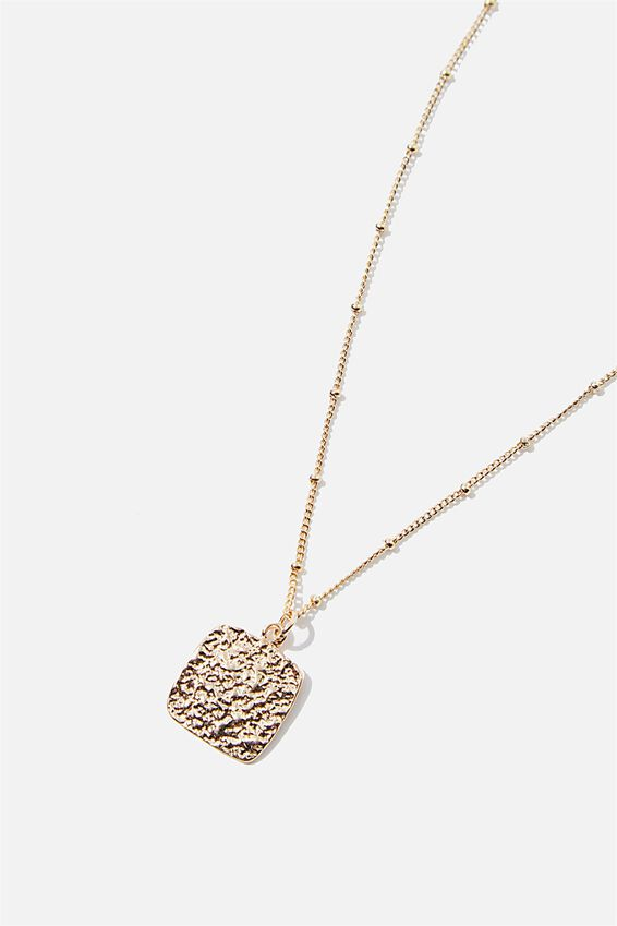 Treasures Short Pendant Necklace, GOLD HAMMERED SQUARE