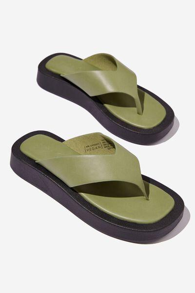 Sadie Flip Flop Flatform, DUSTY GREEN PU