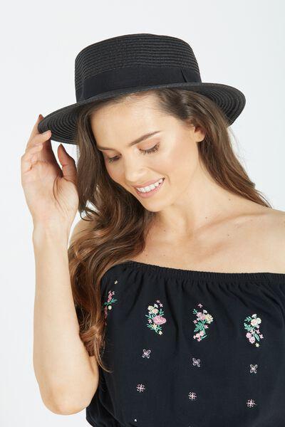 Oxford Boater Hat, BLACK