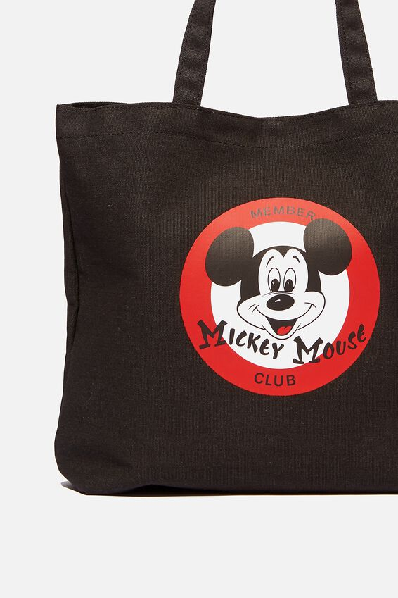 Minimalist Washed Tote, LCN MICKEY BLACK/RED