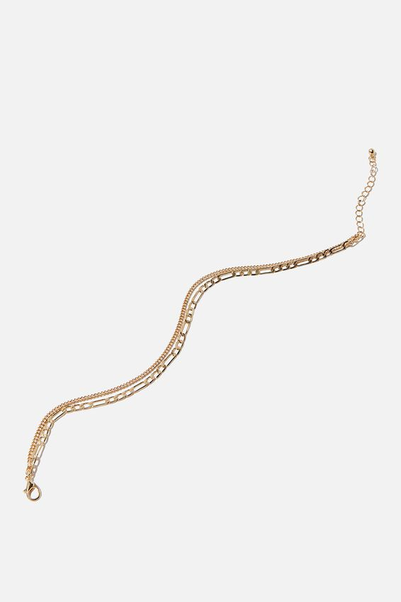 Carrie Chain Anklet, GOLD FINE